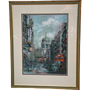 Betty Raphael pastel painting of London street scene artist signed
