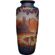 Devez French cameo art glass landscape scenic vase