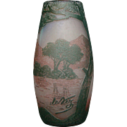 Devez French cameo art glass vase landscape scenic