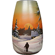 Legras French enameled art glass vase winter landscape man on path