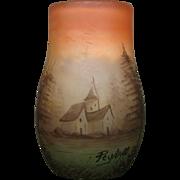Peynaud French enameled art glass vase landscape scene signed