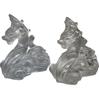 Imperial Cathay pair of frosted dragon candleholders signed Virginia B Evans