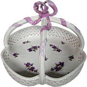 KPM porcelain reticulated basket hand painted violets