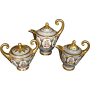 Dresden porcelain women portrait coffee service tea set pot creamer sugar