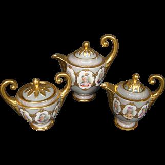 Dresden porcelain women portrait coffee service tea set pot creamer sugar