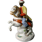 Meissen porcelain miniature figurine man on horseback