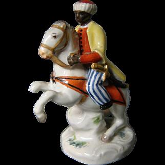 Meissen porcelain miniature figurine man on horseback