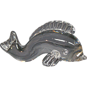 Steuben crystal art glass sculpture fish dolphin signed