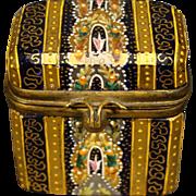 Moser gilded enameled antique miniature cobalt art glass dresser box RARE