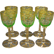 Moser antique unusual green gilded set of six goblets fluted bases
