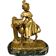 Ernest Wante antique bronze sculpture of woman on back of goat artist signed