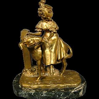 Ernest Wante antique bronze sculpture of woman on back of goat artist signed