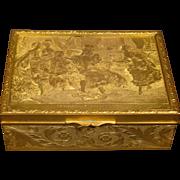 French antique gilded dresser box Tendre Sollicitude d'apres Cesare detti