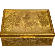 French antique gilded dresser box Tendre Sollicitude d'apres Cesare detti