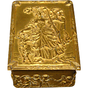 Antique gilded French box woman and sheep