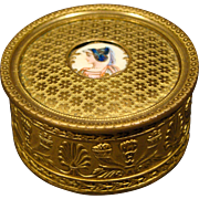 Unusual gilded French antique dresser jewelry box porcelain insert with enamel accents