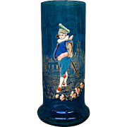 Victorian blue art glass enameled vase man on path
