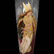 Venetian tall rubina enameled art glass vase Brunhilde applied dolphin feet