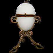 Victorian glass covered egg dresser jar ornate ormolu