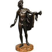 Antique French classic bronze sculpture of semi nude man on marble base