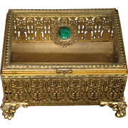 Gorgeous large onrate jewelry or dresser box faux malachite stone