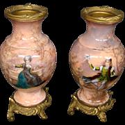 French enamel pair man woman dore bronze mounted vases GORGEOUS