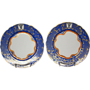 Gorgeous hand painted blue gilded scalloped edge dinner plate bull's head crown mark