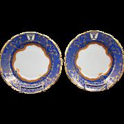 Ornate blue gilded bull's head set fourteen rimmed soup bowls scalloped edge