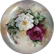 Hand painted floral plate artist signed Grace Passon