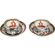 Meissen pair of Chinoiserie tea bowl cups saucers 1740's
