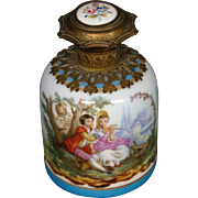 Antique French porcelain ormolu p[erfume bottle cologne courting scenes