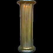 Lundberg Studios gold aurene type art glass ribbed vase