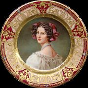Dresden hand painted porcelain portrait plate Auguste Strobel Strobl