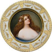 German beehive hand painted porcelain portrait plate signed Wagner titled Gracieuse