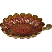 Moser cranberry gold platinum enameled leaf nappy dish bowl
