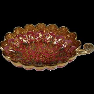 Moser cranberry gold platinum enameled leaf nappy dish bowl
