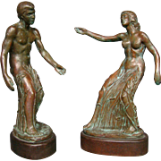 Randolph Johnson bronze sculptures nude man and woman in cattails 11/50 dated 1982