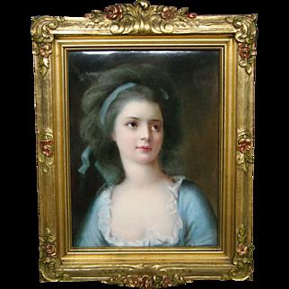 German hand painted porcelain plaque Countess Sophie Potocka artist signed Paul Doering