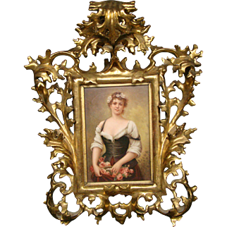 German hand painted porcelain plaque woman with a basket of roses florentine frame