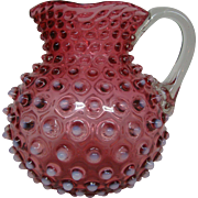 Hobbs cranberry opalescent water pitcher