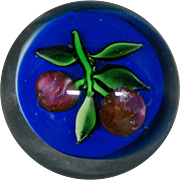 Antique glass paperweight cherries on cobalt blue ground