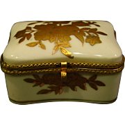 Gold white porcelain floral trinket box