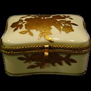 Gold white porcelain floral trinket box