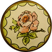 Battersea Bilston round enamel roses pill or trinket box