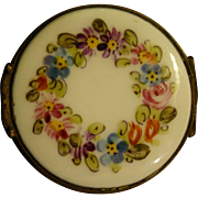 French hand painted roses and flowers round trinket box