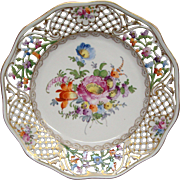 Dresden reticulated hand painted floral plate latticework