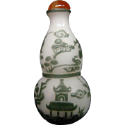 Peking cameo glass snuff bottle double gourd form pagodas cranes