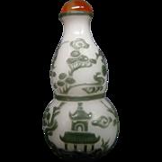 Peking cameo glass snuff bottle double gourd form pagodas cranes