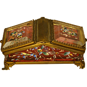Victorian cranberry enameled glass unusual dresser box