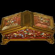 Victorian cranberry enameled glass unusual dresser box
